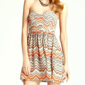 Parker Quilted Empire Dress In Zig Zag